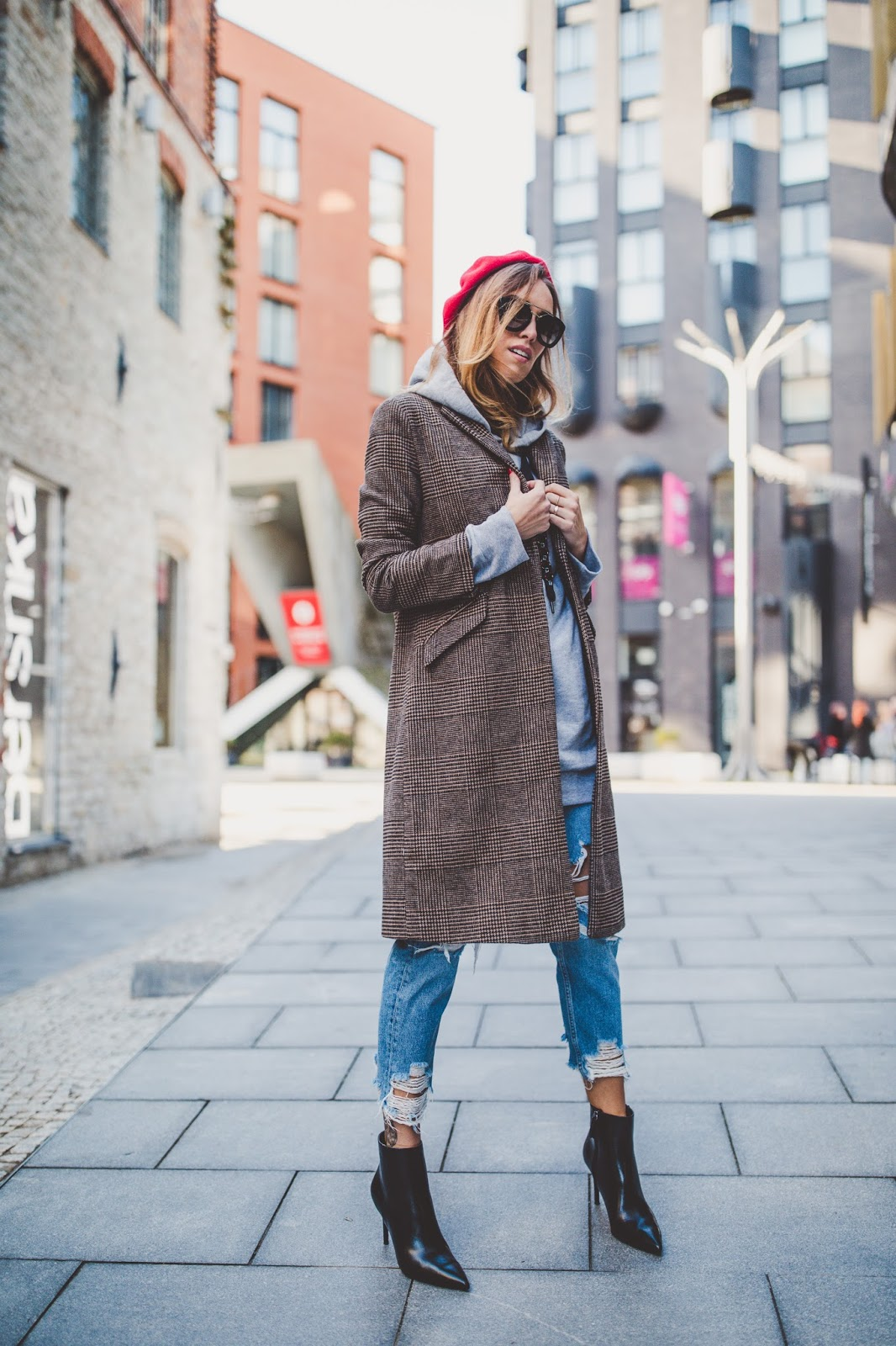 plaid print coat fall outfit