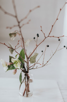 Minimal-Floral-Bud-Vase-Hellebore-Twigs-and-Berries