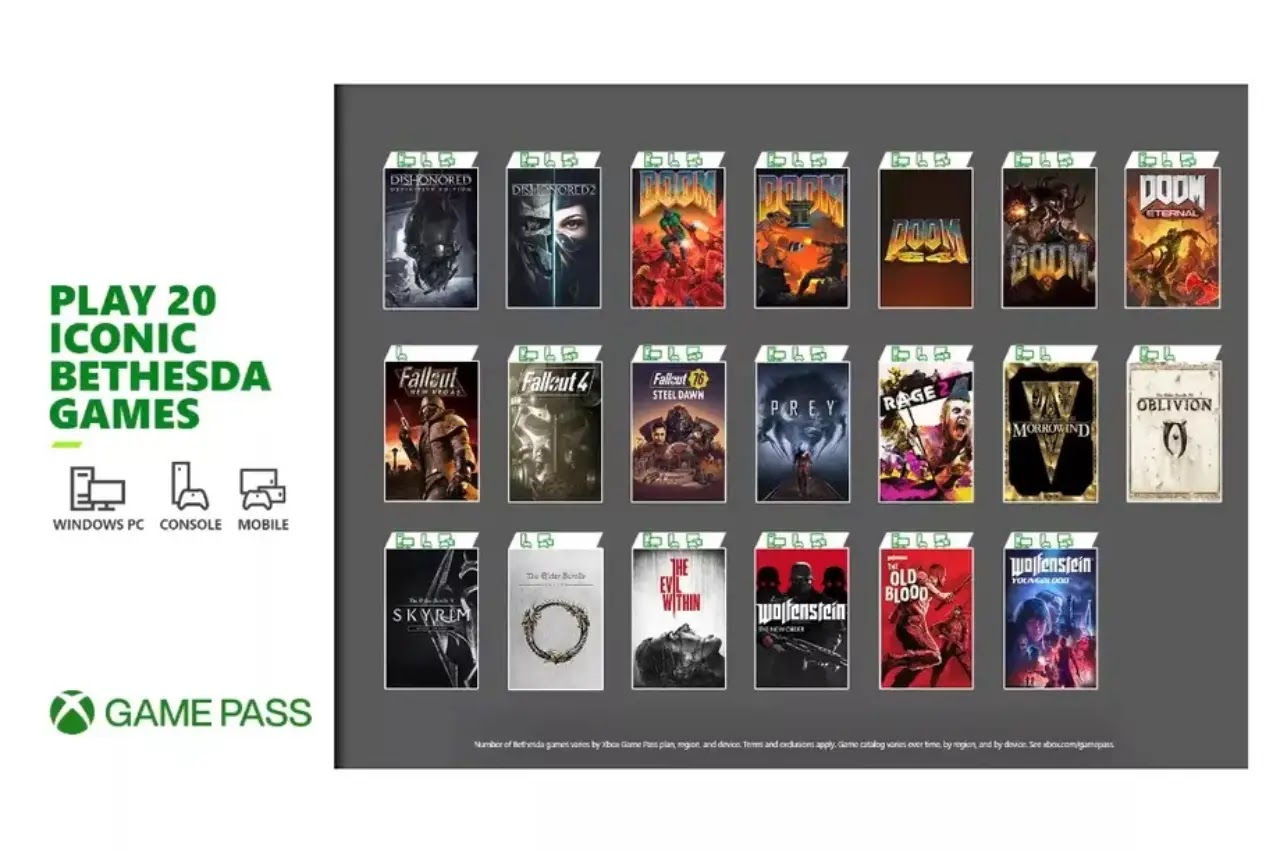 20 Bethesda games available on Xbox Game Pass Friday