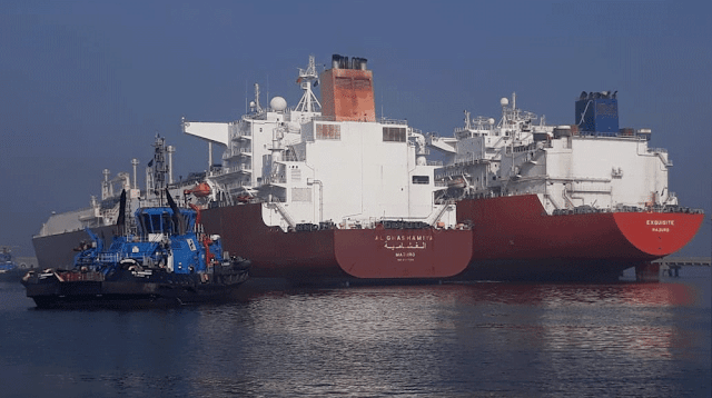 Image Attribute: In January 2019, two large LNG-carrying ships docked at Karachi's Port Qasim and averted a looming energy crisis. Ship on Left - AL GHASHAMIYA (IMO: 9397286, MMSI: 538003353) and Ship on Right - EXQUISITE (IMO 9381134, MMSI: 538003353) / Dated: January 19, 2019 / Source: ProPakistani.pk