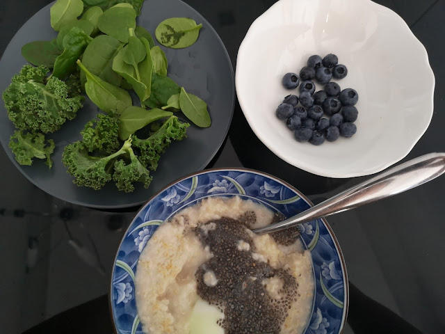 Morning Breakfast Routine - Oatmeal with eggs, spinach, kale, blueberry and a follow-up Turmeric or Ginger Drink