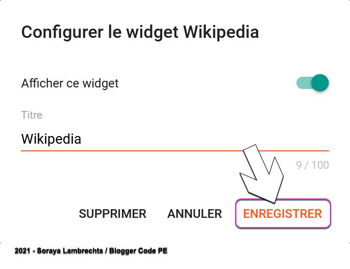 Enregistrer un gadget Blogger.