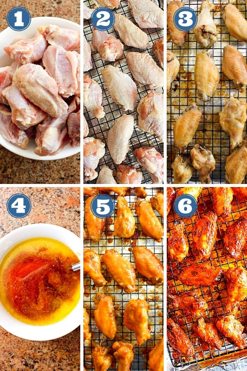 Collage of photos of Baked Buffalo Chicken Wings being made.