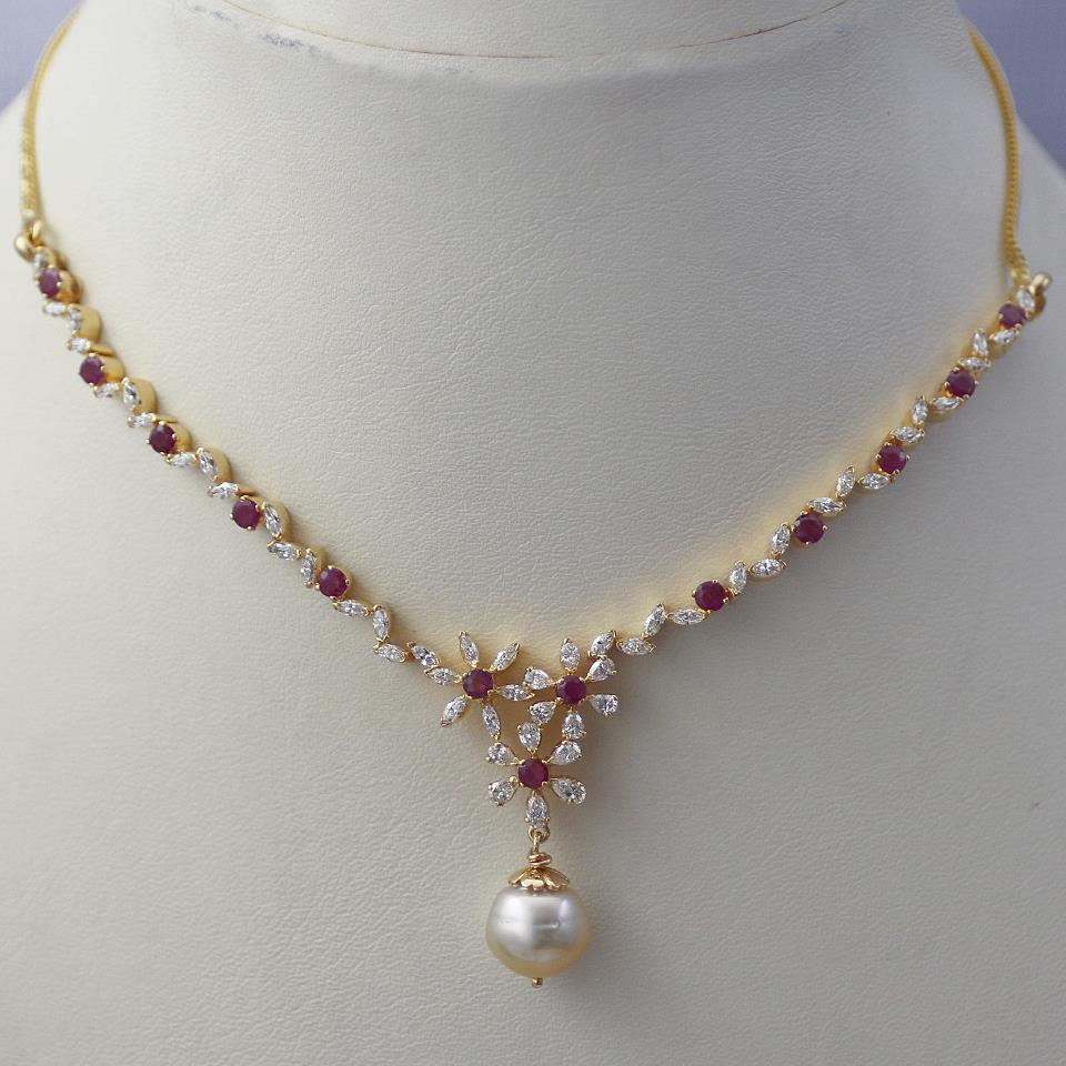 Sleek Ruby Diamond Necklace Jewellery Designs