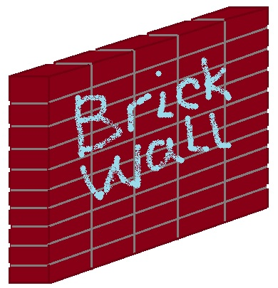 Cartoon image of a brick wall.