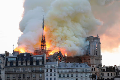 Notre Dame fire:Huge inferno devastates world famous cathedral and leaves one firefighter injured