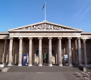Front of the British Museum Building showing columns and steps