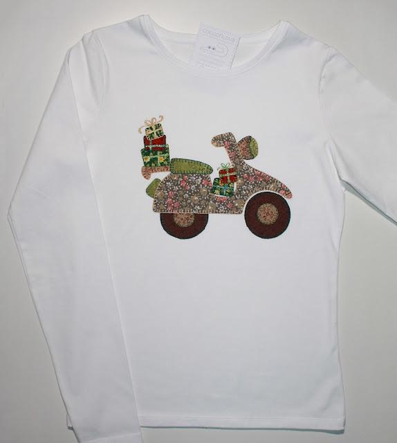 camiseta moto vespa antigua de patchwork