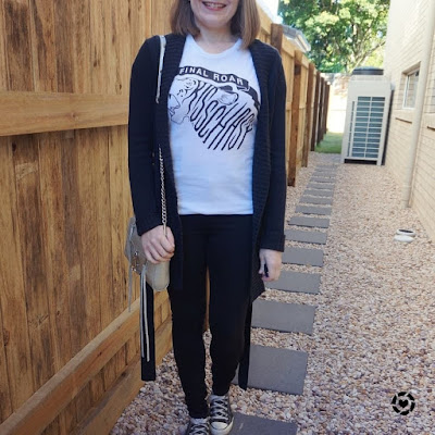 awayfromblue Instagram | monochrome black skinny jeans band tee outfit silver bag