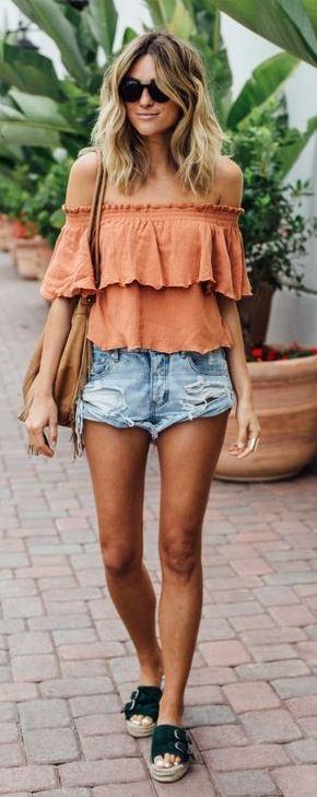 summer boho style obsession: top + bag + shorts + flip-flop