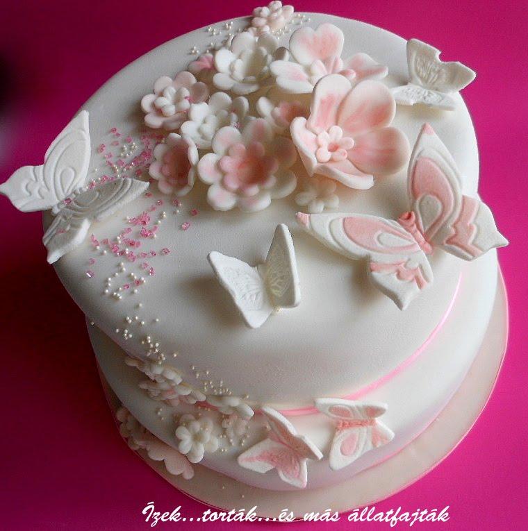 lányos torta képek Ízektortákés más állatfajták: Rózsaszín fehér lepkés virágos  lányos torta képek