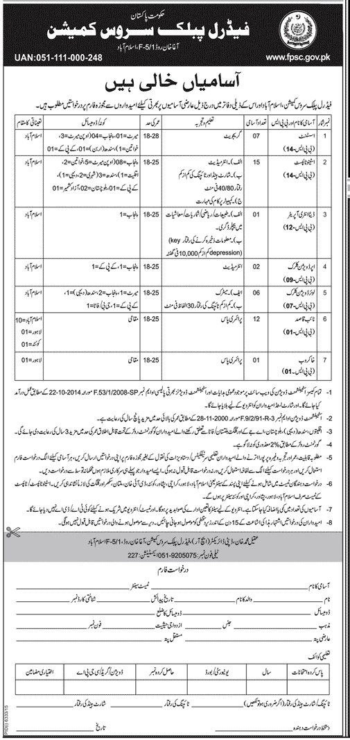 Government Jobs in Pakistan Federal Public Service Commission Jobs in Islamabad