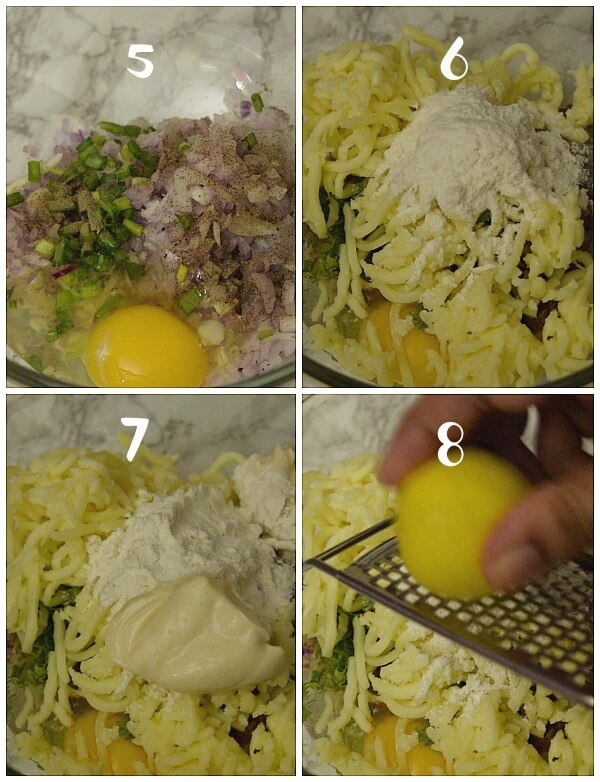 steps to make the shrimp patties - bowl with shrimp,egg,onion,spring onion,flour,cheese,mayonnaise and lemon zest