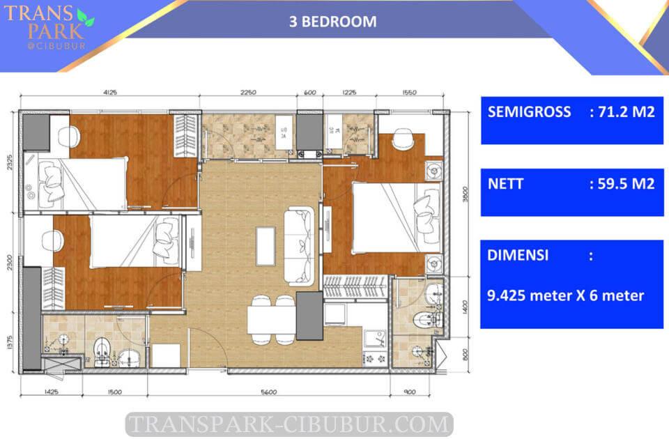 Denah Tipe 3 Bedroom Corner Apartemen TransPark Cibubur