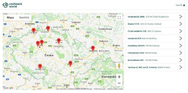 mapa prodejen SCONTO nábytek, kde lze získat dodatečnou slevu skrze eVoucher (stav k 07/2019) - milanrericha.cz - Cashback World
