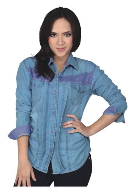 Model Kemeja Denim Jeans Wanita Murah Baru