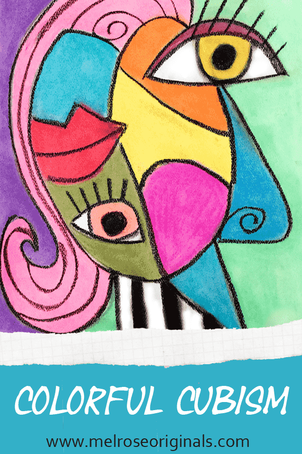 pinnable image of colorful cubism by malissa melrose