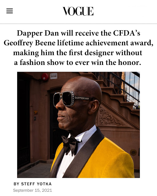 Counterfeit goods designer Dapper Dan honored by 2021 CFDA lifetime achievement award by VOGUE magazine