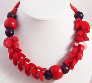 Chunky wood bone red necklace