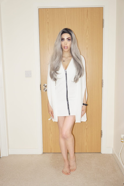Femme Luxe White Cape Extreme Sleeve Bodycon Mini Dress in model Arabella.