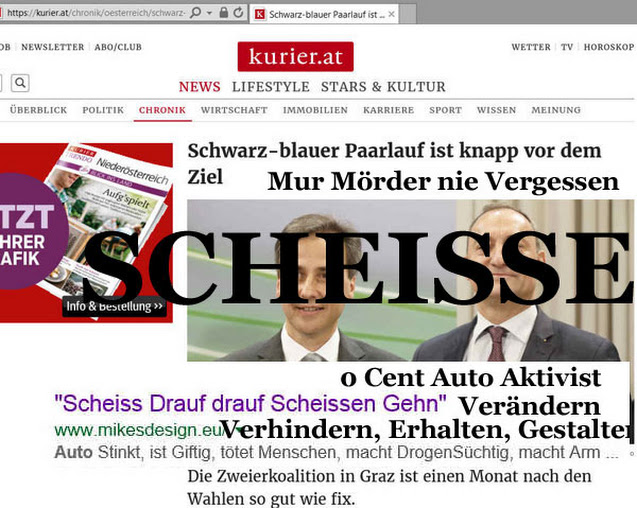 Google Sargnagel Graz Mörder ÖVP- FPÖ, MUR, S 7, Steinhof, Westring Null Euro, 0 Stimmen Generalstreik 0 Cent Auto