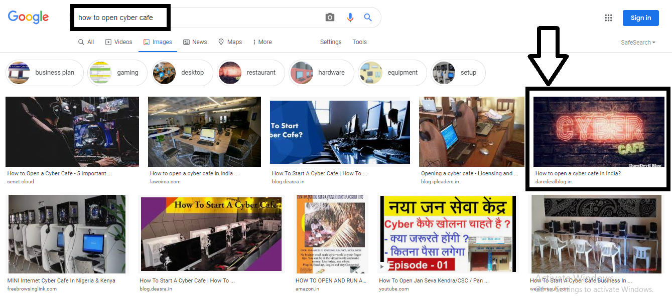 Search on google how to open cyber cafe