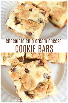 chocolate chip cream cheese cookie bars recipe