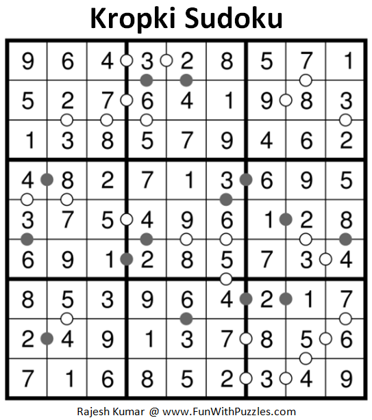 Kropki Sudoku Puzzles (Fun With Sudoku #238) Solution