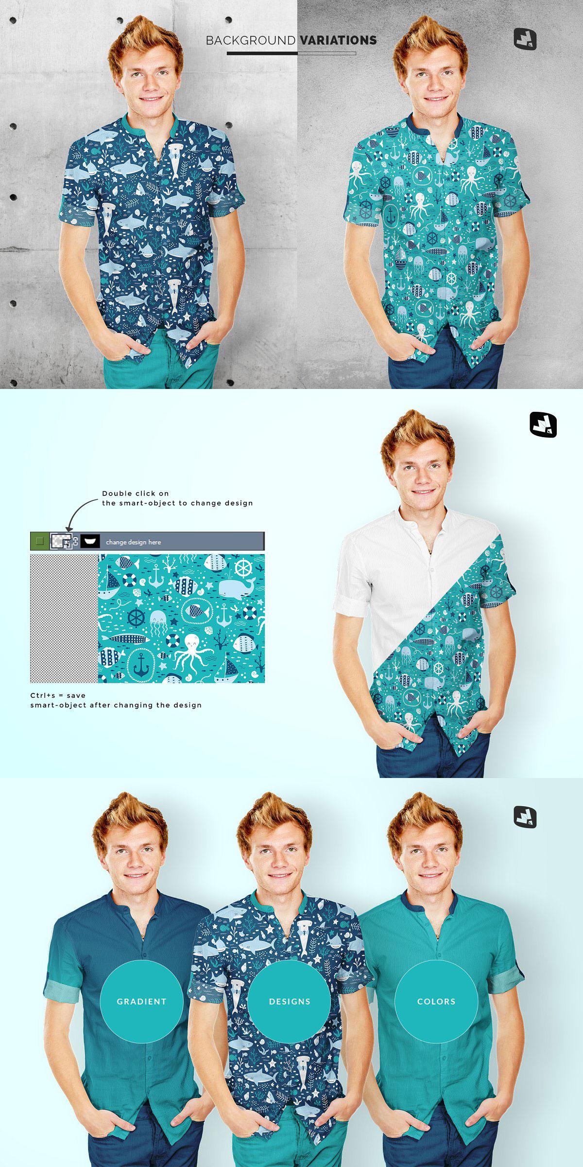 Male Y-neck Shirt Mockup 4699915