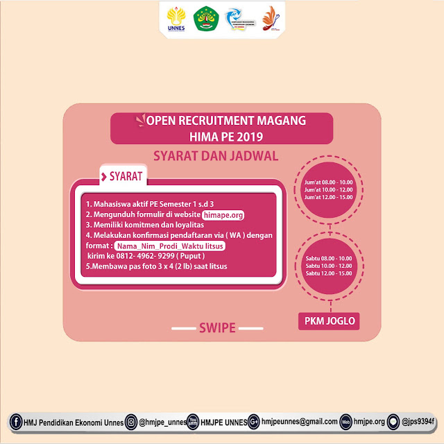 OPEN RECRUITMENT MAGANG HIMA PE UNNES 2019