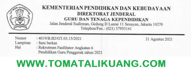 rekrutmen fasilitatot guru penggerak angkatan 6 tahun 2021 tomatalikuang.com