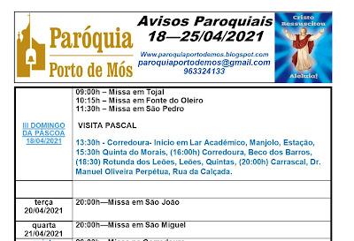 Avisos Paroquiais 18 a 25 de Abril de 2021
