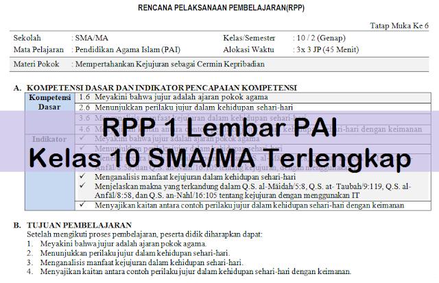 RPP 1 Lembar PAI Kelas 10 SMA/MA Terlengkap