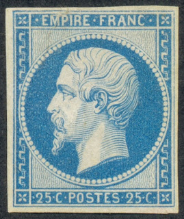 France 1853-1860, Nice 25 Centimes Blue, Emperor Napoleon III