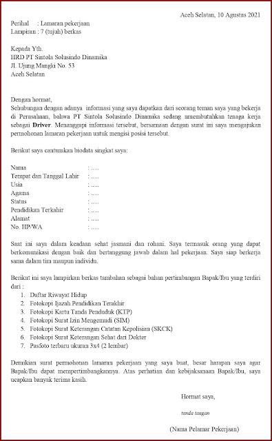 Contoh Application Letter Untuk Driver Pengiriman/Delivery/Expedisi (Fresh Graduate) Berdasarkan Informasi Dari Seseorang