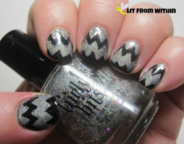 chevron nail art with Girly Bits Push It, and Revlon Black Magic.