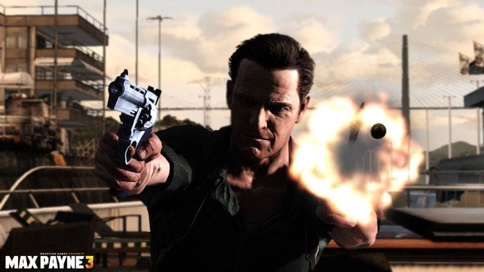 Payne disparando dos armas a la vez: revolver y subfusil.