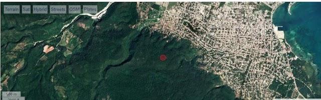 Lugar exacto  donde tembló la tierra en Barahona según ubicación