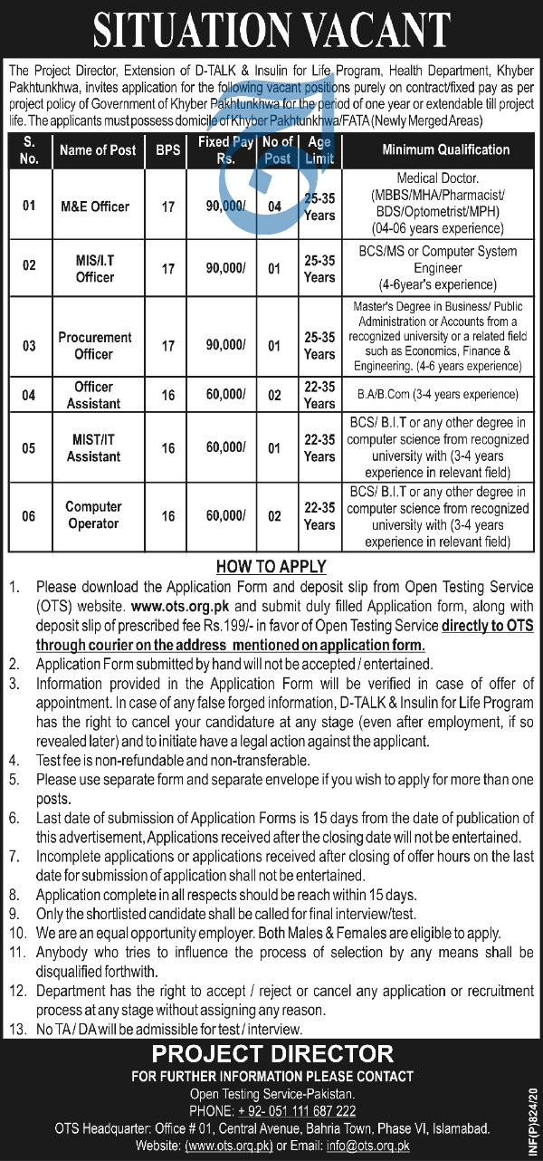 Jobs in Health Department Govt of Khyber Pakhtunkhwa 2020