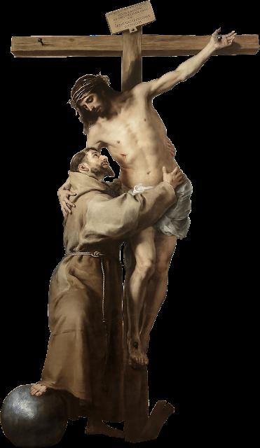 São Francisco e Jesus Cristo Crucificado PNG