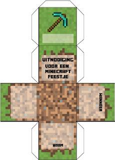 Uitnodiging Minecraft blok uitnodiging - gratis download printable