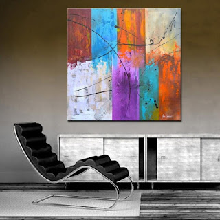 Extra Large Textured Colorful Abstract Painting on Canvas Wall Art