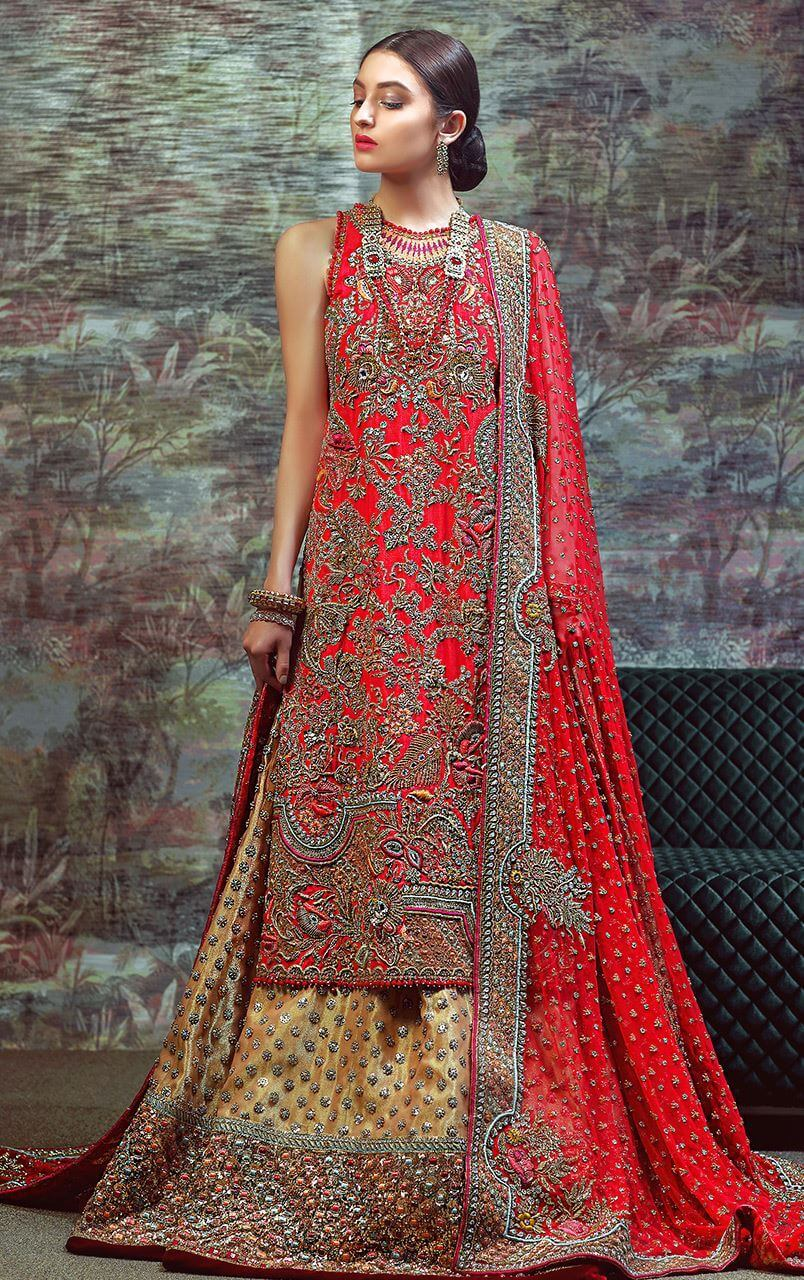 Red sleeveless long shirt completely handworked with dabka nakshi crystals resham stones and beads work