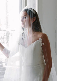 Wedding hairstyles with chapel length veil over face