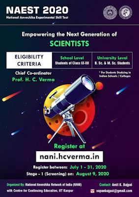 Register for  National Anveshika Experimental Skill Test NAEST 2020