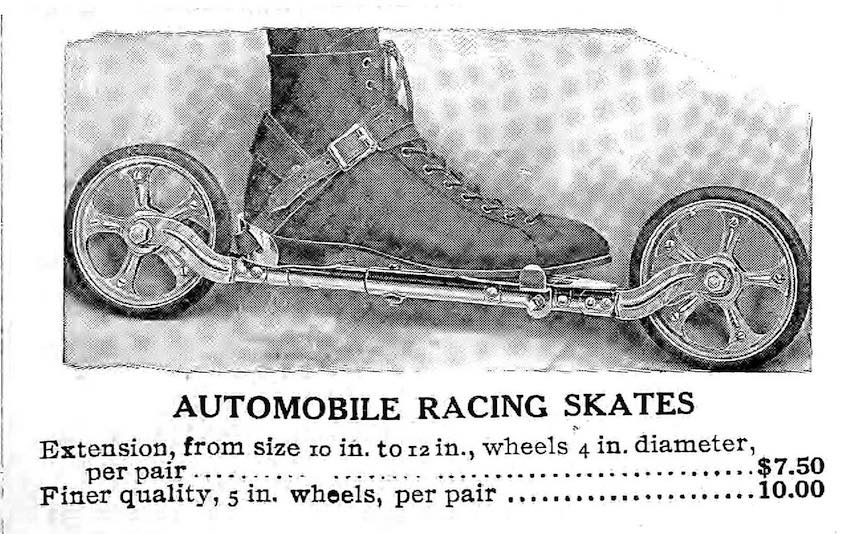 "1911  ""AUTOMOBILE RACING SKATES"", an advertisement with photograph"
