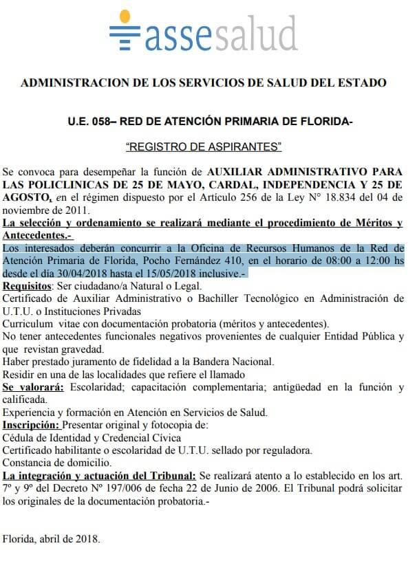 Bachilleres administración auxiliares administrativos Asse 2018