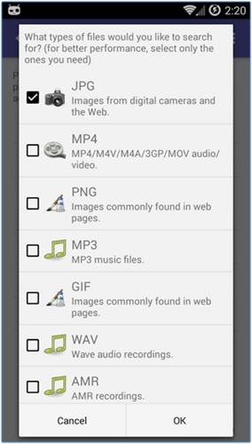 Mengembalikan file yang terhapus di Android 2