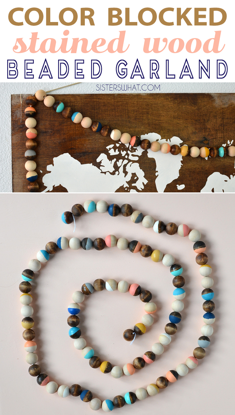 tutorial for a colorfully painted wood beaded garland