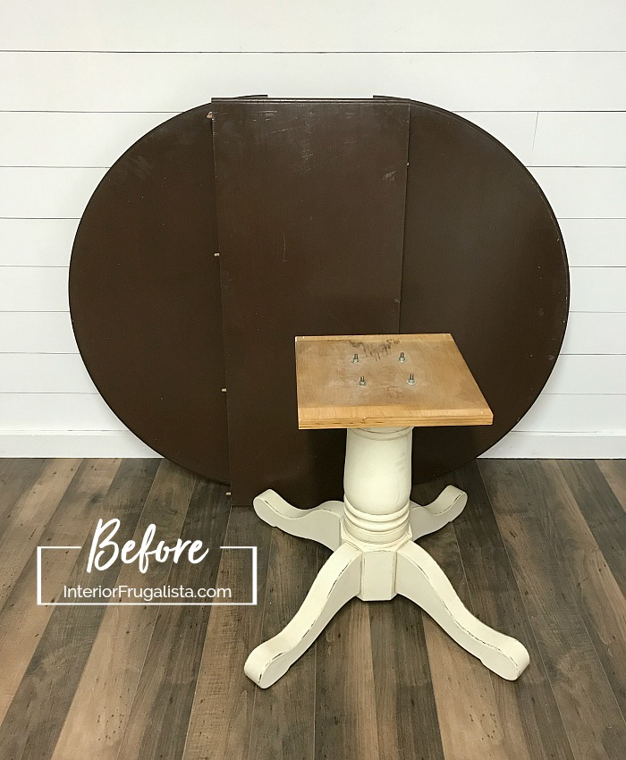 How to give a 90s pedestal oak dining table a drab to fab Modern Farmhouse makeover by painting the base a cool white and staining the top dark gray.